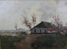 A gilt framed oil on canvas, rural cottage in a landscape, unsigned. H.75 W.99cm