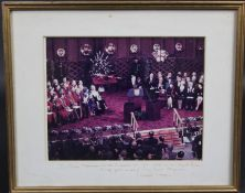 A framed and glazed presentation photograph inscribed and signed to the mount by Ronald Reagan. H.30