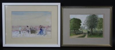 A watercolour, stylised late Victorian promenade scene with figures and another watercolour, rural