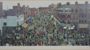 A framed and glazed limited edition signed screen print by John Allin (1934-1991), Petticoat Lane.