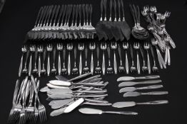 An extensive collection of Christofle cutlery to include forks x12, fish knives x23, small forks