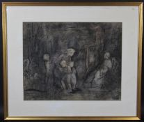 Jules van Ael (1912-1997), a pen and ink drawing depicting mothers with their children, signed and