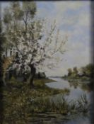 A gilt framed oil on canvas, riverscape, signed W Engelen with dedication label to the reverse. H.50