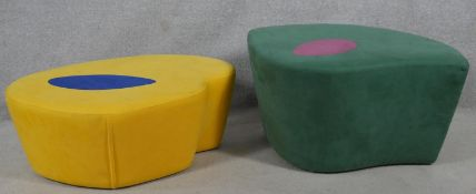 A contemporary vintage style upholstered stool by Loft Furniture and another similar stool. H.40 L.