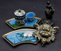 A cloisonne lidded jar, a pot and a pair of serving trays along with a cast metal figure and a brass