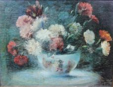 An oil on canvas, still life of a bowl of flowers, indistinctly signed and dated, in ornate gilt