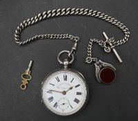A Victorian silver pocket watch and Albert chain with fob. Pocket watch inscribed 'The ''Empire''