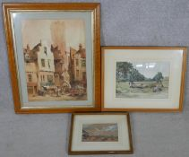 A maple framed 19th century Flemish watercolour, street scene, signed Wallen, a 19th century