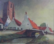 A framed oil on board, village scene, indistinctly signed and inscribed. H.68 W.78cm