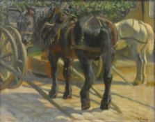 After Anton Mauve (1838-1888), oil on canvas, shire horses in a yard. H.69 W.84cm