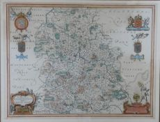 A framed and glazed antique hand coloured map of Shropshire. Comitatus Salopiensis, Shropshire. By