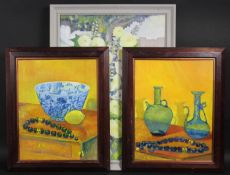 A pair of oils on board, still lives, and an oil on canvas, a still life of flowers, each signed