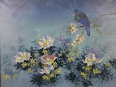 A framed oil on canvas, a bird perched on a branch in a naturalistic setting, indistinctly signed.