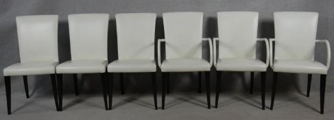 A set of six contemporary Poltrona Frau Vittoria model dining chairs in leather upholstery on