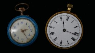 An 18 carat engraved gold fob watch (glass missing), white enamel dial with black Roman numerals (