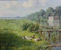 Wilhelmus Lambertus Wijmans (1888-1976), an oil on canvas, riverscape, signed. H.48 W.58cm