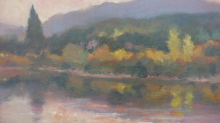 Gerard Erley, oil on board, river in a landscape, signed and titled to the reverse. H.29.5 W.35cm