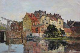 After Johannes Christiaan Karel Klinkenberg (1852-1924), a framed oil on canvas, townscape by a