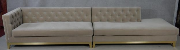 A Bespoke Sofa Company two part sofa in buttoned upholstery. H.75 W.362 D.85cm