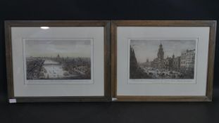 Two framed and glazed antique hand coloured engravings of views of London, published by Laurie and