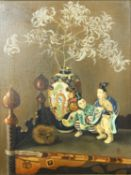 A framed oil on canvas, still life Chinese figures and a vase, monogrammed and dated. H.52 W.42cm