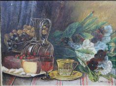 A framed oil on board, still life, signed L Vanaerschot. H.36 W.46cm