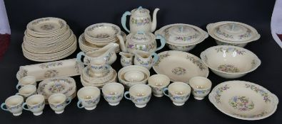 A complete six person New Hall, Hanley Staffordshire dinner service with pale blue accents and