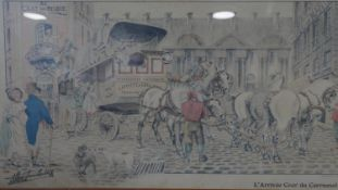 A framed and glazed hand coloured antique print of The Arrival Cour du Carrousel, 1820 by JL Dugast.