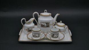 A contemporary Richard Ginori coffee set on matching porcelain tray, Fiesole pattern, transfer