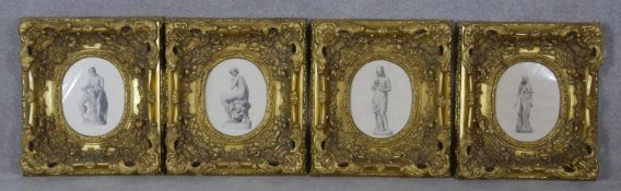 Four carved giltwood and gesso framed antique engravings of four female Classical marble sculptures.