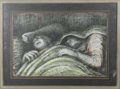 A framed and glazed Henry Moore print from the Shelter Series with impressed mark bottom right. H.53