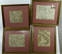 Four framed and glazed antique hand coloured maps of 'Persia by Herman Moll, Italy and two others.