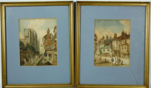 A pair of 19th century watercolours, figures in a port town setting, one signed Stewart, framed