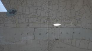 A framed and glazed antique architect's map showing 'The Plan of the Proposed Double Bridge and
