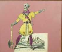 A 19th century tinsel picture of Mr Rowbotham as Count Godfrey, Prince of Damascus. H.32 W.37cm