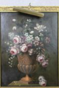 An oil on board, still life flowers in a Classical style urn in gilt frame fitted with picture