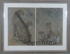 A framed and glazed pastel dyptich study of a cheetah and her cubs by Bella Prideaux, signed