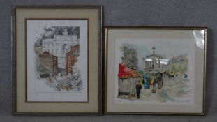 Two framed and glazed signed limited edition coloured lithographs one by French artist Urbain