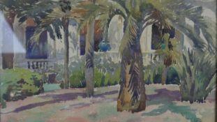 A watercolour, palms in a courtyard setting, signed Claudia Fourreau Segend, glazed in ornate gilt