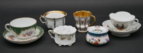 Various items of Dresden and Continental hand painted porcelain to include two cups with saucers,