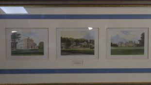 A framed and glazed triptych of hand coloured antique engravings of Cornwall. To include