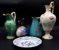 A 19th century Doulton Burslem ewer with gilt and lily decoration, three other examples and a 19th