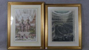 Two hand coloured engravings, the Egyptian Court and North Transept at the Crystal Palace exhibition