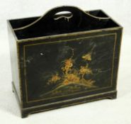 A black lacquered Chinoiserie decorated two section magazine box. H.46 W.46 D.23cm