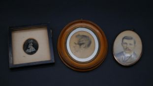 Two 19th century oval watercolour miniature portraits and a framed daguerreotype. H.17 W.14cm (
