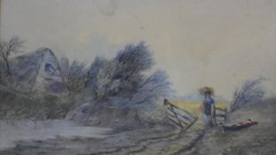Henry Maplestone (1819-1884). a framed and glazed watercolour, The Neglected Farm, signed with