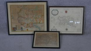 Three framed and glazed hand coloured maps. A modern reproduction of a map from the survey of Philip