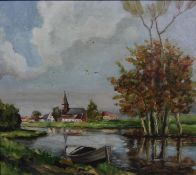 An oil on board, riverscape wich church and village in the distance, signed Strybol with a
