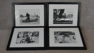 Four contemporary framed and glazed black and white stills from vintage movies. Including Sean
