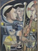 A gilt framed acrylic on paper, Cubist style religeous figural study, signed Caroline. H.84 W.63cm